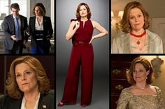Sigourney Weaver's secretary of State in USA's new 'Political Animals,' loosely based on Hillary Clinton, has a perfectly exaggerated wardrobe. Robin Givhan on what the clothes say about powerful women in Washington.