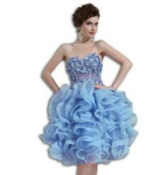 Lovely lace unique sky blue puffy bigger poofy plus size short prom dress with ruffles and unique corset for women.