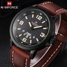 Brand NAVIFORCE Watches men Casual Quartz reloj Leather Sports wristwatch Army Military Dive Men's Watches relogio masculino
