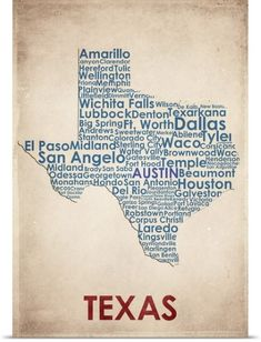 American Flat Poster Print Wall Art Print entitled Texas, None