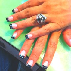Simple black French with silver lines