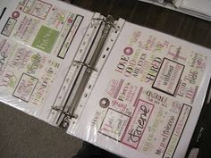 Organize stickers into a binder by category