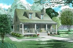 Farmhouse Style House Plan - 2 Beds 2 Baths 1400 Sq/Ft Plan #17-2019 Exterior - Front Elevation - Houseplans.com