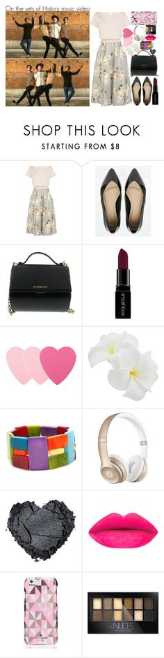 """""""On the sets of History music video"""" by fangirl-preferences ❤ liked on Polyvore featuring Coast, ASOS, Givenchy, Smashbox, Sephora Collection, Encanto, Beats by Dr. Dre, Kate Spade and Maybelline"""