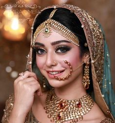 50 latest and very unique bridal naths for this wedding season! Bridal Makeup Looks, Indian Bridal Makeup, Bride Makeup, Wedding Makeup, Silver Jewellery Indian, Silver Jewelry, Silver Ring, Silver Earrings, Make Up Braut