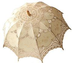 "Vintage Fashion Dexiu Handmade Vintage Battenburg Ivory Embroidery Lace Parasol Umbrella for Bridal Bridesmaid Wedding Decoration 30"""