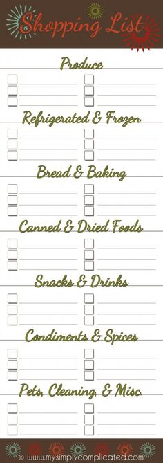 Cute Free Printable Shopping List Split Into Categories  Cool