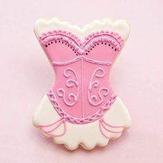 Pink Glitter Burlesque Lingerie Bachelorette Cookie Favors - Corset Wedding Party Favors // 1 doz. // Bridesmaid gift Wedding Shower Cabaret. $45.50, via Etsy.