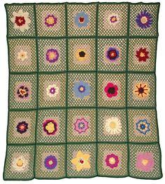 Granny Square Crochet Flower Afghan Blanket Throw Rug 25 Instant Digital patterns PDF eBook download