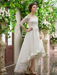 Vestido de noiva marfim ombro de fora em organza curto e com cauda-No.4