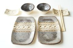Rustic Sushi Serving Set Set for Two Gray Sushi Set by bemika