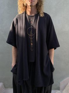 Simple Black Kimono Nomad Kimono Jacket Kimono Duster   Etsy Kimono Shirt, Kimono Duster, Kimono Jacket, Nomad Fashion, Black Kimono, Gypsy Dresses, Knit Wrap, Trending Outfits, How To Wear