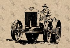 Tractor Farm Driver Vintage image Instant Download printable Vintage picture clipart digital graphic transfer paper burlap fabric  HQ300dpi by UnoPrint on Etsy