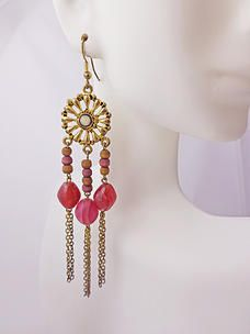 $7.00 Pink Pixie Earrings. Indian inspired earrings, light-medium weight. Gold-tone color with wooden and resin beads. Shepherd hook style. #PINKEarrings #PINK #Earrings #PINKPixie  #Nonprofit    All of our proceeds go to educating women in crisis. www.pinkpixie.org