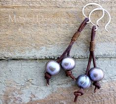 MiShel Designs - Leather and Pearl Earrings by Michelle Buettner