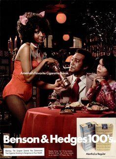 Benson & Hedges cigarettes - Ebony Magazine May 1973 [Loving her look! Hating the cigg advertisement though. Ebony Magazine Cover, Black Magazine, Retro Ads, Vintage Ads, Retro Advertising, Vintage Posters, Benson & Hedges, Black Enterprise, Afro