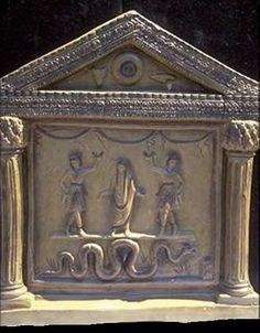 lararium, Pompei. Penates- Household gods worshiped in conjunction with the Vesta and the Lares by the ancient Romans.