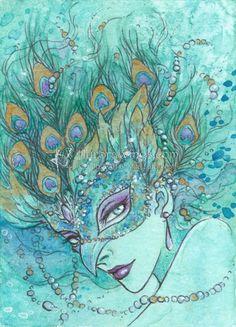 """Peacock Masquerade"" Aurora Wings - Fantasy Art of Mitzi"