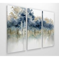 Great for 'Waters Edge I' Acrylic Painting Print Multi-Piece Image on Wrapped Canvas by Alcott Hill Wall Art Decor from top store Multi Canvas Painting, Diy Painting, Painting Prints, Canvas Wall Art, Watercolor Paintings, 3 Piece Canvas Art, 3 Piece Painting, Multi Canvas Art, Art Paintings