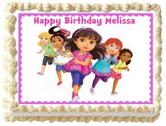 Dora Friends Image Edible Cake Topper - Dora The Explorer Dora And Friends, Friends Cake, Happy Birthday Melissa, Thing 1, Character Cakes, Dora The Explorer, Edible Cake Toppers, Friend Birthday, Handmade Gifts