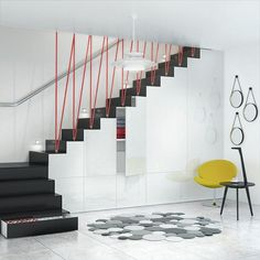 Check out this first rate staircase storage - what a clever design and development Wooden House Decoration, Wooden House Design, Staircase Storage, Staircase Design, Basement Stairs, House Stairs, Cable Stair Railing, Escalier Design, Transforming Furniture