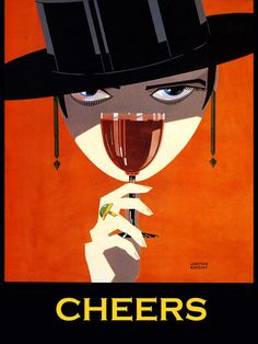 """Cheers"" Porto wine. Alcohol Vintage poster / vieille affiche publicitaire d'alcool. Drink ads. R"