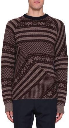 Dries Van Noten Tacos Jacquard Wool Sweater