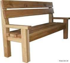 Rustic Oak Large Contemporary Garden Bench