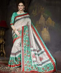 Shades Of Green Color Bhagalpuri Casual Wear Sarees : Krushi Collection YF-28146