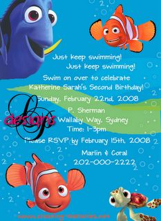 Lynn Puzzo Designs Katherines Nemo Birthday Party Invitations Swim Parties 3rd