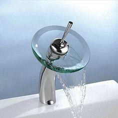 Translucent Green Stylish Glass Vessel Waterfall Bathroom Sink Faucet-- Faucetsmall.com Best Bathroom Faucets, Basin Sink Bathroom, Glass Waterfall, Waterfall Faucet, Cheap Bathrooms, Amazing Bathrooms, Water Faucet, Glass Vessel, Modern Traditional