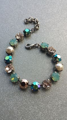 Sabika inspired vintage looking tennis bracelet natural pearl!!  Yes please! Swarovski Crystal Designer inspired trendy by KissMySassJewelry, $35.00