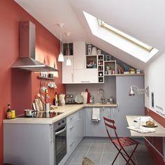 Petite cuisine leroy merlin en L grise et rouge
