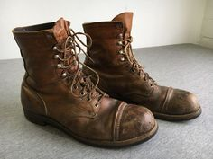 RED WING Boots Vintage Brown Leather Iron Ranger Steel Cap Toe Work USA Men 12 #RedWing #workSafety
