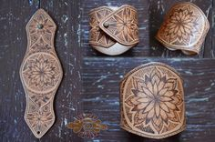 Burned leather mandala cuff ~ pyrography ~ Livit Vivid