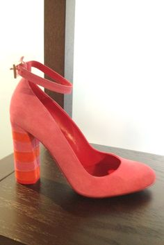 Resort Footwear Highlights: Stripes in candy-colored suede at Sebastian on this ankle strap pump