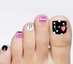 48 toe nail art designs to keep up with trends 2019 001 Toenail Art Designs, Pedicure Designs, Pedicure Nail Art, Toe Nail Designs, Toe Nail Art, Nails Design, Black Pedicure, Nail Nail, Purple Nails