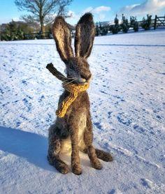 Horris the Hare fabulous felted art by Becky Wilson