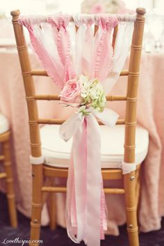 Chair Decoration wedding pink flowers pretty white colors decorate chairs
