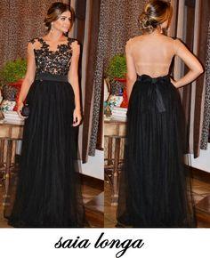 vestidos de renda com tule longos