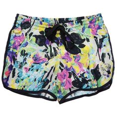 GAT RIMON Printed Tropical Shorts (€97) ❤ liked on Polyvore featuring shorts, bottoms, pants, short, שורטים, short shorts, gat rimon and rubber shorts