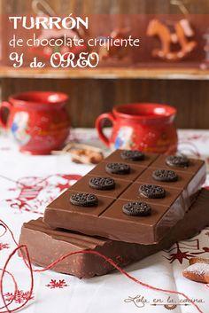 Turrón de chocolate crujiente y de Oreo