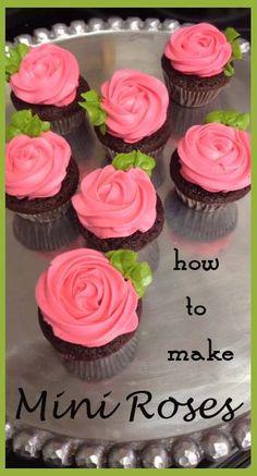 how to make Mini Rose cupcakes