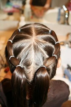 1.Puffy Braid  Part the hair down the middleand then form triangles from a centre point on the crown of her head.