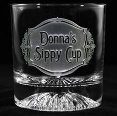 "Personalized Sippy Cup Whiskey Glass A personalized sippy cup whiskey glass engraved with your name and ""sippy cup"" is a unique and funny gift idea for baby shower gifts or for a new mom.  Deeply carved and hand crafted by our master glass carvers, our personalized sippy cup scotch glass is a cool new mommy gift that will be enjoyed for many years to come. At Crystal Imagery."