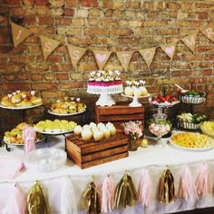 Rustic table at a vintage shabby chic bridal wedding party! See more party planning ideas at CatchMyParty.com!