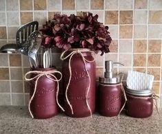 Country Kitchen Decor, Wedding Gift,Burgundy, Mason Jar Decor,Mason Jar Soap Dispenser,Painted Mason Jars,Farmhouse Decor,Country Kitchen by GodGirlsandGlitter on Etsy https://www.etsy.com/listing/262947783/country-kitchen-decor-wedding