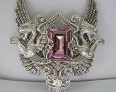 Victoriano plata Art Deco con gárgolas y collar de por steamheat