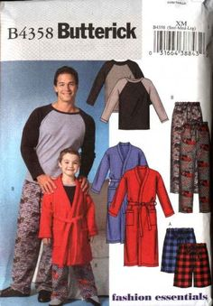 Butterick Sewing Pattern 4358 Boys Size 3-6 Easy Wrap Front Robe Pullover Top Shorts Pants Pajamas   Butterick+Sewing+Pattern+4358+Boys+Size+3-6+Easy+Wrap+Front+Robe+Pullover+Top+Shorts+Pants+Pajamas