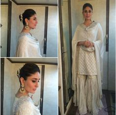 Off white kurti sharara kareena. this is exactly what I wanted! Indian Attire, Indian Ethnic Wear, Ethnic Dress, Pakistani Outfits, Indian Outfits, Ethnic Outfits, Short Shirt Dress, Sharara Designs, Desi Clothes